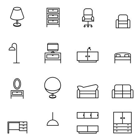 Möbel-Icons Set Vektor-Illustration für Mobile, Web und Anwendungen