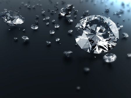 dazzling: dazzling Diamond isolated on black reflective surface and have space for text or headline , photo-realistic 3d rendering with clipping mask