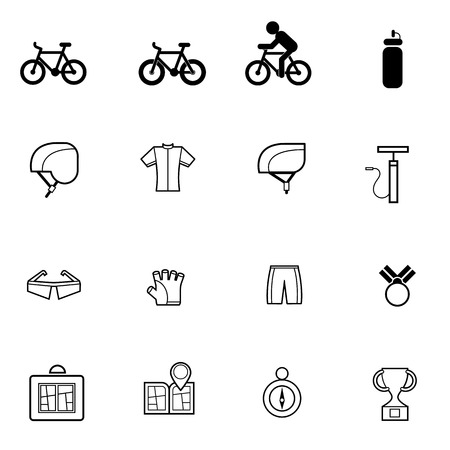 mobile accessories: bicycle related and accessories icons set vector illustration For Mobile, Web And Applications