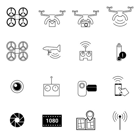drones: drone icons set vector illustration For Mobile, Web And Applications Illustration
