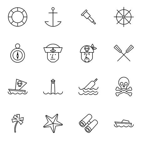 nautical line icons set vector illustration For Mobile, Web And Applications