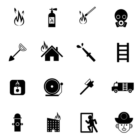 fire fighter: fire fighter and emergency rescue icons set vector illustration For Mobile, Web And Applications