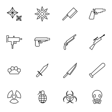 explosive gas: weapon and arms icons set vector illustration For Mobile, Web And Applications Illustration