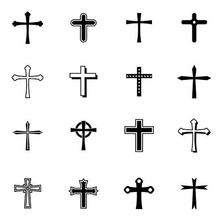 cruz religiosa: cruces iconos conjunto ilustración vectorial para móviles, web y aplicaciones