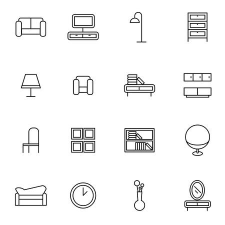 woonkamer meubelen pictogrammen instellen vector illustratie voor mobiel, web en toepassingen Stock Illustratie