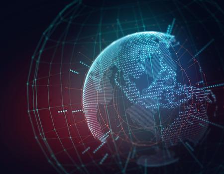 alrededor del mundo: Tierra tecnolog�a futurista ilustraci�n de fondo abstracto