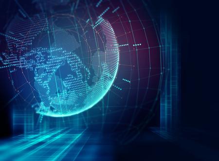 技術: 地球未來的技術抽象的背景插圖