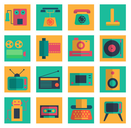 vdo: retro object flat icons set vector illustration For Mobile, Web And Applications