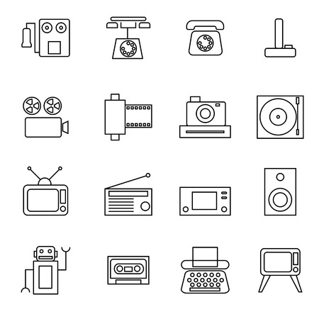 vdo: retro object line icons set vector illustration For Mobile, Web And Applications