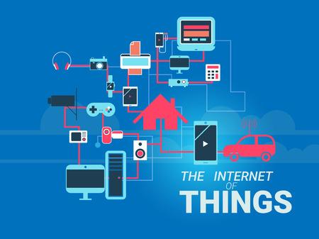 ネットワークでスマート家電は。デバイス間の多くの異なる接続を示す物事のインターネットのためのコンセプト