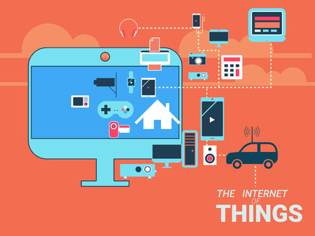 Smart appliances in network. Concept for Internet of Things showing many different connection between device