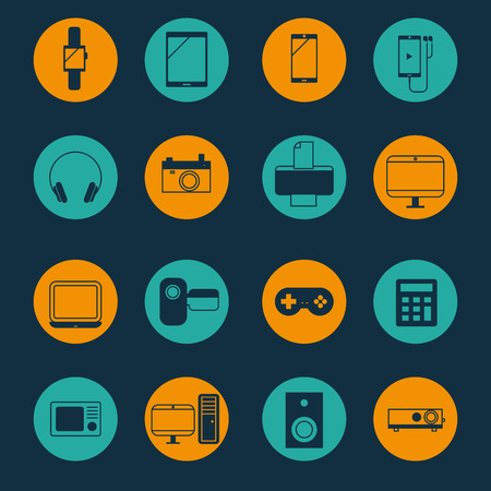 electronic music: Electronic,home electronics and gadget icons set Illustration