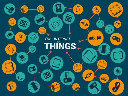 internet: Smart appliances in network. Concept for Internet of Things showing many different connection between device