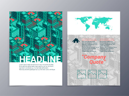 corporate identity template: abstract city building architecutre geometric pattern brochure design template vector mock up for use as real estate company  anual report, poster,flyer
