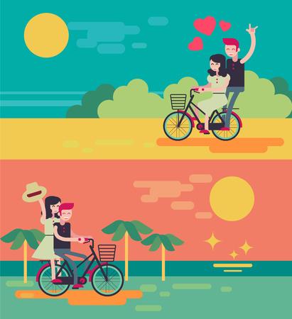 honeymoon: Beach couple riding bicycle  on romantic travel honeymoon vacation summer holidays romance. Illustration