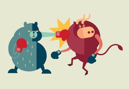 dragen overwinning op de stier in de aandelenmarkt en eurocrisis effect van griekenland schuld betalingsschema Stock Illustratie