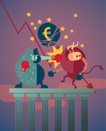bearish business: bear win over the bull in stock market and euro crisis effect by greece debt payment schedule Illustration