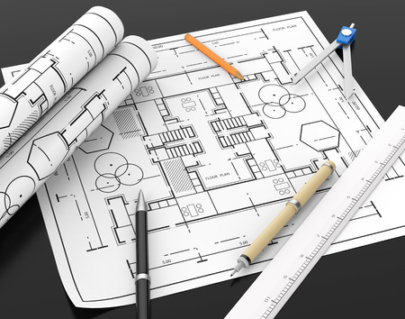 architect tools: Architect blueprint and stationary tool background and blank space left for text and design element with clipping path