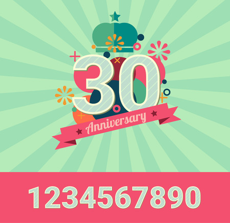 anniversary card: anniversary design elements include number for replace , for use as invitation card or flyer