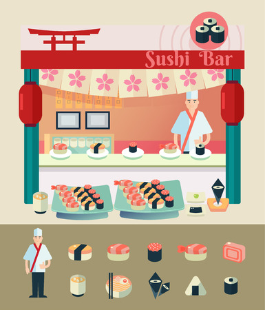 sushi set: sushi chef with various type of sushi illustrate in cartoon style vector illustration for use as info graphic element project