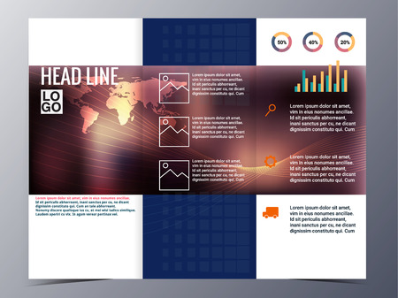 graphic presentation: abstract blue geometric pattern brochure design template vector tri-fold for use as company annual report, poster,flyer