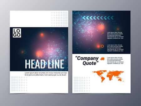 abstract blue geometric pattern brochure design template vector tri-fold for use as company annual report, poster,flyer