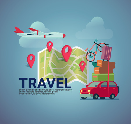 different way: flat design travel  banner background ,different way of transportation,by airplane,by car and check in icon on map .