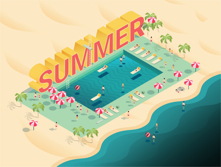 isometric letters summer text with pool and ocean vector illustration,people enjoy beach and pool party with swimming pool, chaise lounges,parasol umbrellas,beach ball
