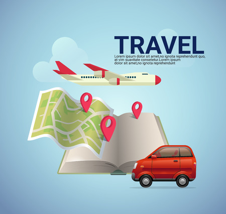 destination: vector map on guide book with pin icon show location and destination of transportation , type of transportation such as car,bus,taxi and check in text.