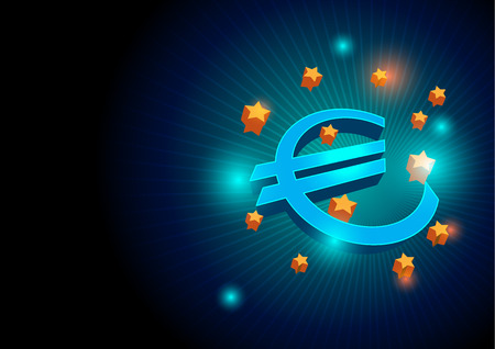 Euro sign and european union  blue  background  vector  illustration