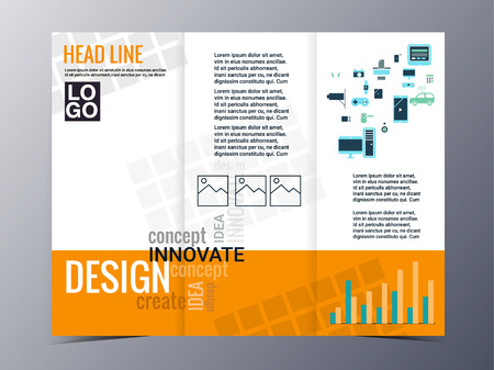 brochure cover: abstract  geometric pattern brochure design template vector tri-fold for use as company annual report, poster,flyer Illustration