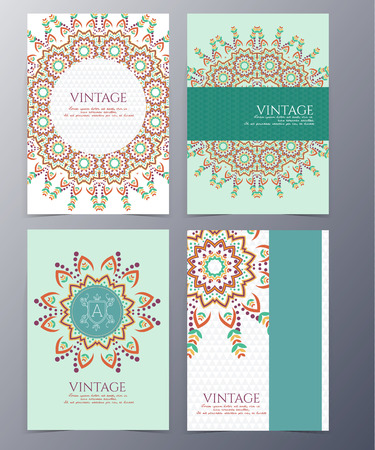 set of vintage  in handdrawn, ethnic zentangle style for use as greeting card or invitation flyer