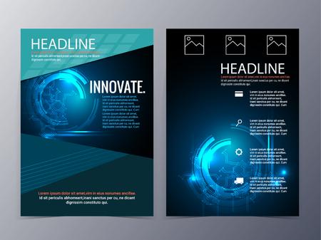 zakelijke en technologische brochure ontwerp vector tri-fold in A4size voor gebruik als bedrijf jaarverslag, poster, flyer Stock Illustratie