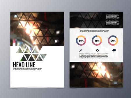 sjabloon: zakelijke en technologische brochure ontwerp vector tri-fold in A4size voor gebruik als bedrijf jaarverslag, poster, flyer Stock Illustratie