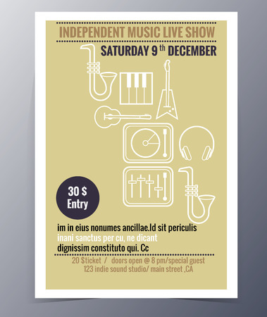 live concert: Indie musician concert show poster with music instruments icon guitar  vector illustration Illustration
