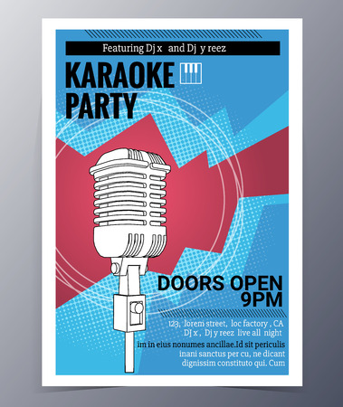 indie: Indie musician concert show poster with microphone vector illustration