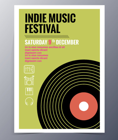 indie: Indie musician concert show poster with gramophone record vector illustration Illustration