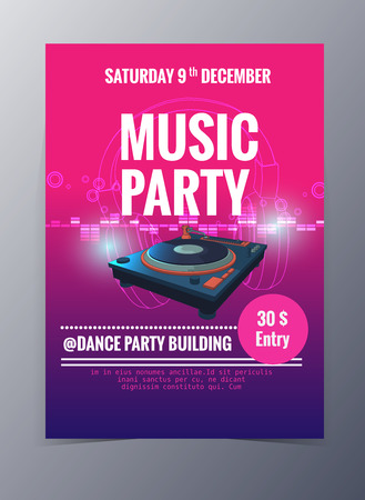 Indie musician concert show poster with dj turn table vector illustration
