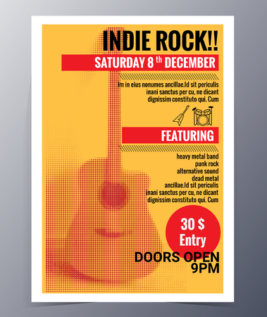 indie: Indie musician concert show poster with acoustic guitar  vector illustration