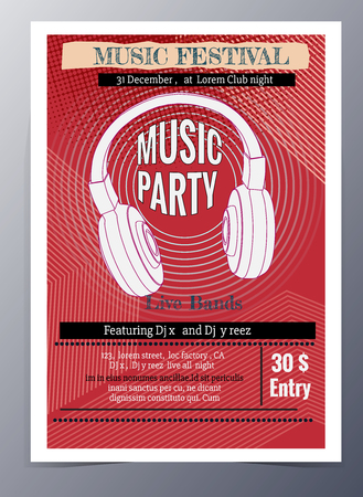 banner background: Indie musician concert show poster with headphone vector illustration Illustration
