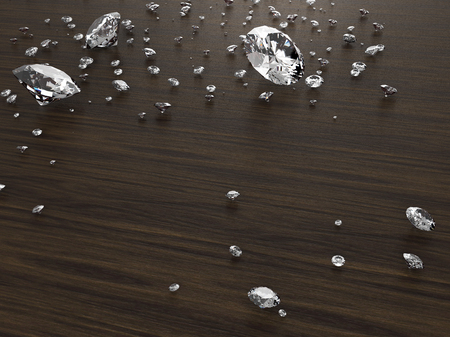 dazzling: dazzling Diamond on wood reflective surface and have space for text or headline , photo-realistic 3d  rendering with clipping path Stock Photo