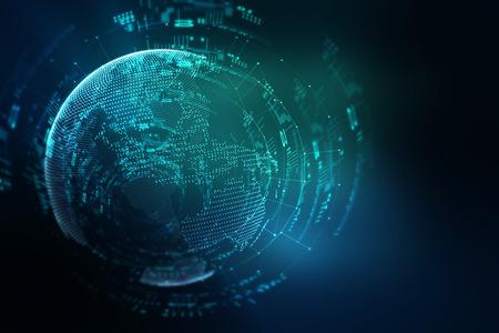 globo terraqueo: Tierra tecnolog�a futurista ilustraci�n de fondo abstracto