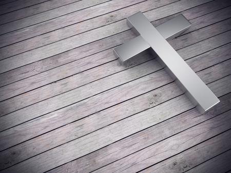 3D render van zilveren kruis op hout achtergrond, links ruimte voor tekst Stockfoto