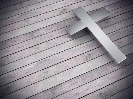 3d render of silver cross on wood background , left space for text Archivio Fotografico