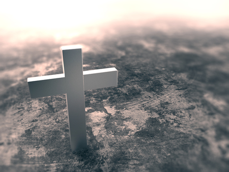 catholic symbol: 3d render of silver cross on grunge background, left space for text Stock Photo