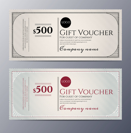 Gift voucher template with colorful pattern ,classic premium style  Ilustração