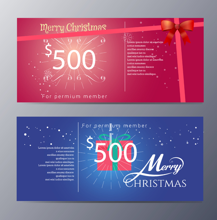 christmas gift: christmas Gift voucher template with colorful modern style  Illustration
