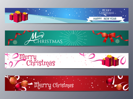 set of christmas banner vector illustration ,standard web design size Vettoriali