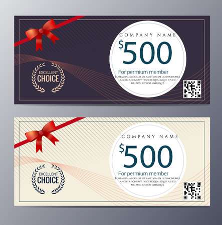 Gift voucher template with colorful pattern ,classic premium style vector illustration Illustration
