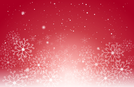 Christmas light and snowflake on red vector background, for Card or invitation.